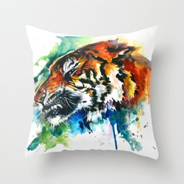 Orange Mad Tiger Watercolor Throw Pillow