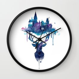 Always - Magical Deer in a Wizard World in watercolor Wall Clock