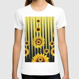 YELLOW SUNFLOWERS BLACK ABSTRACT PATTERNS ART T-shirt