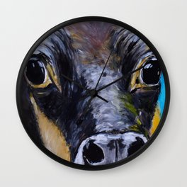 Moon: The Eyes of a Jersey Cow Wall Clock