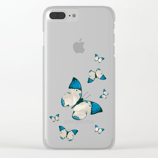Spring Butterfly (Blue Pattern) Clear iPhone Case