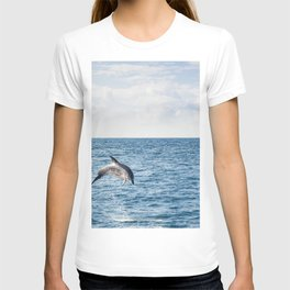 Leaping Wild Dolphin - Retro style illustration T-shirt