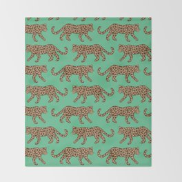 Kitty Parade - Classic on Jungle Green Throw Blanket
