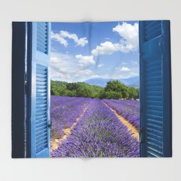 wooden shutters, lavender field Throw Blanket