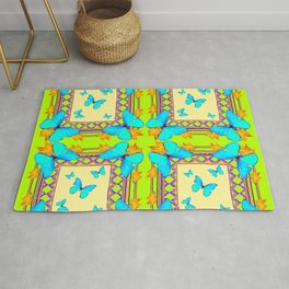Southwestern  Lime & Turquoise Butterflies Gold Patterns Art Rug