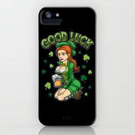 Good Luck - Beautiful Irish Girl - Cloverleaf iPhone Case