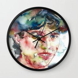 SYLVIA PLATH - watercolor portrait Wall Clock