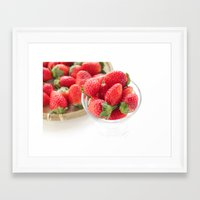 strawberry Framed Art Prints featuring strawberry by Masako Ogasawara, photography & fine art