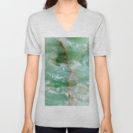 Crystalized Pale Green Quartz Slab with Copper Vein Unisex V-Neck