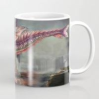 kaiju Mugs featuring Fringehead Kaiju by Rushelle Kucala Art