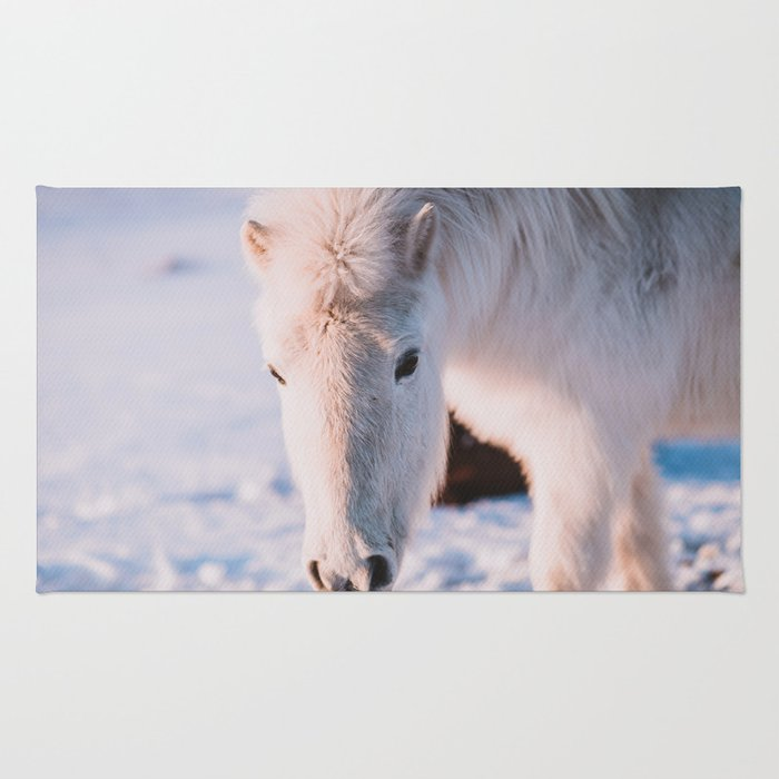 White Icelandic Horse in Snow Rug