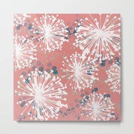 Pink Dandelion Dance Metal Print