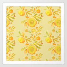 Granada Floral in Yellow Ochre on yellow Art Print