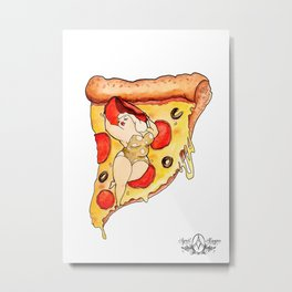 Pizzaz - Pizza lover pin up by April Alayne Metal Print