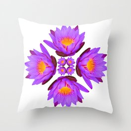 Purple Lily Flower - On White Throw Pillow