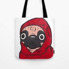 Red Hoodie Pug Tote Bag
