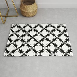 Large Black and White Geometric Circles Rug
