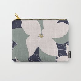 Leafy Floral Collage on Navy Carry-All Pouch