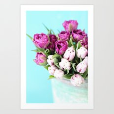 pink and purple tulips Art Print