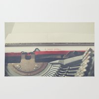 typewriter Area & Throw Rugs featuring typewriter by Sara Cuadrado