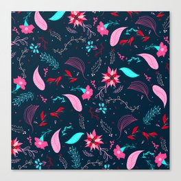 Modern winter bright navy blue pink turquoise teal floral pattern illustration Canvas Print