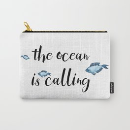The ocean is calling / blue fish watercolor Carry-All Pouch