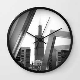 Sears Tower Sculpture Chicago Illinois Black and White Photo Wall Clock