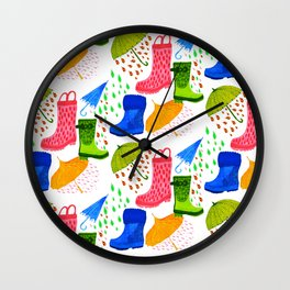 Gumboots and Puddles Wall Clock