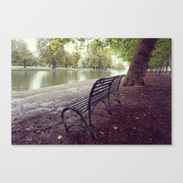 Riverside Iron Bench Canvas Print