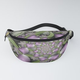 Lilac Hearts in Love with Green, Abstract Fractal Art Fanny Pack