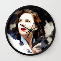 agent carter Wall Clocks featuring Peggy Carter by Ms. Givens