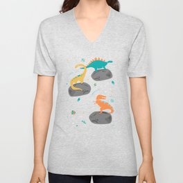 Dinosaurs Floating on an Asteroid Unisex V-Neck