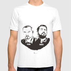 Simon Pegg & Nick Frost Mens Fitted Tee MEDIUM White