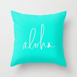Aloha Tropical Turquoise Throw Pillow