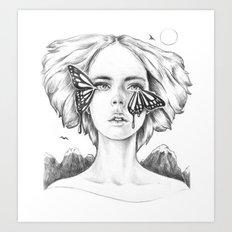 Watching the Life I Borrowed (B/W) Art Print