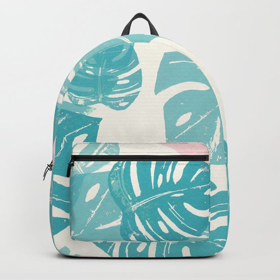 Linocut Monstera Rosy Backpack