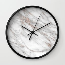 Pink Rose Gold Blush Metallic Glitter Foil on Gray Marble Wall Clock