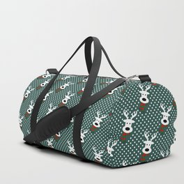 Reindeer in a snowy day (green) Duffle Bag