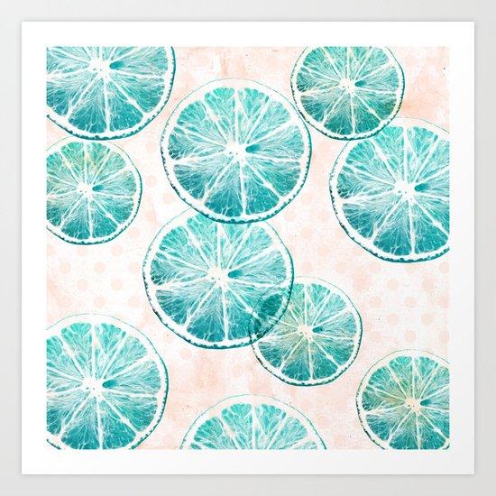 Turquoise citrus Art Print
