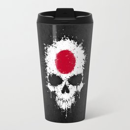 Flag of Japan on a Chaotic Splatter Skull Travel Mug