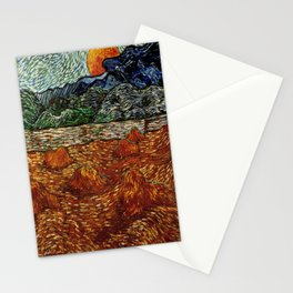 Van Gogh, night at the rising of the moon – Van Gogh,Vincent Van Gogh,impressionist,post-impressioni Stationery Cards