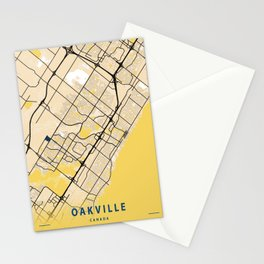 Oakville Yellow City Map Stationery Cards