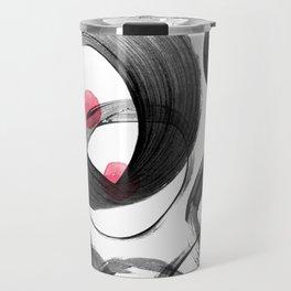 Abstract pink black watercolor circles dots Travel Mug