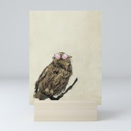 Owl with Pink Rose Eyes on Beige with Vintage Texture Mini Art Print