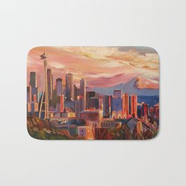 Seattle Skyline with Space Needle and Mt Rainier Bath Mat