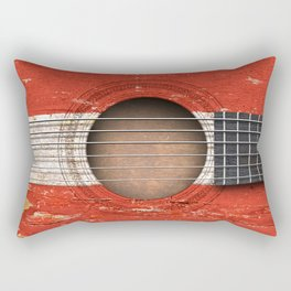 Old Vintage Acoustic Guitar with Austrian Flag Rectangular Pillow