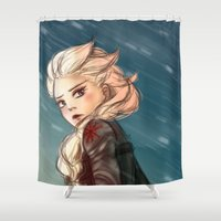 winter soldier Shower Curtains featuring Elsa as a Winter soldier by Thea Yau