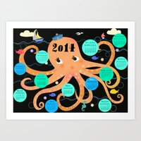 calender Art Prints featuring Octopus Calender 2014 by Darling Planet Earth