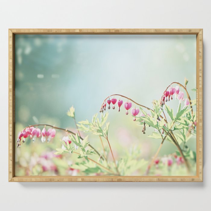 Bleeding Heart Flower Photography, Pink Blue Green Aqua Pastel, Floral Nursery Nature Spring Serving Tray