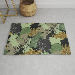 Modern texture military camouflage glitter hand drawn illustration pattern Rug